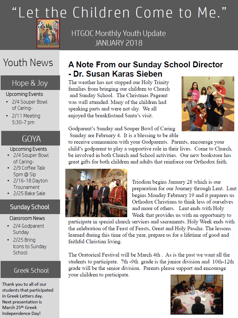 The HTGOC Monthly youth update for Hope & Joy, GOYA, Sunday School and Greek School.